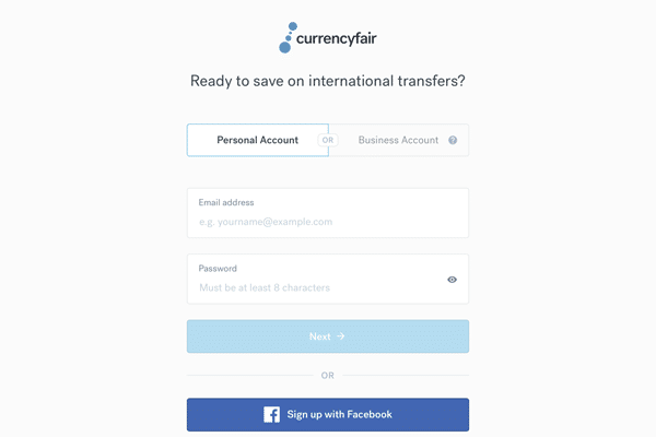 CurrencyFair Login