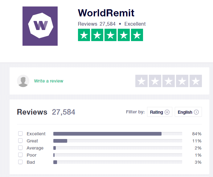 Worldremit review on Trustpilot
